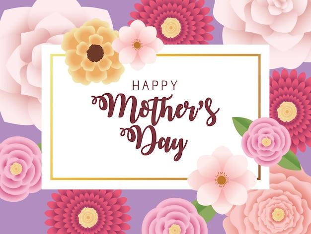 Karta z napisem dzień matki z kwiatami