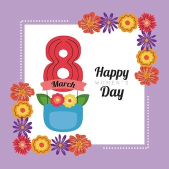 Karta z napisem międzynarodowego dnia kobiet na wstążce z ośmioma cyframi i ilustracją kwiatowej ramki