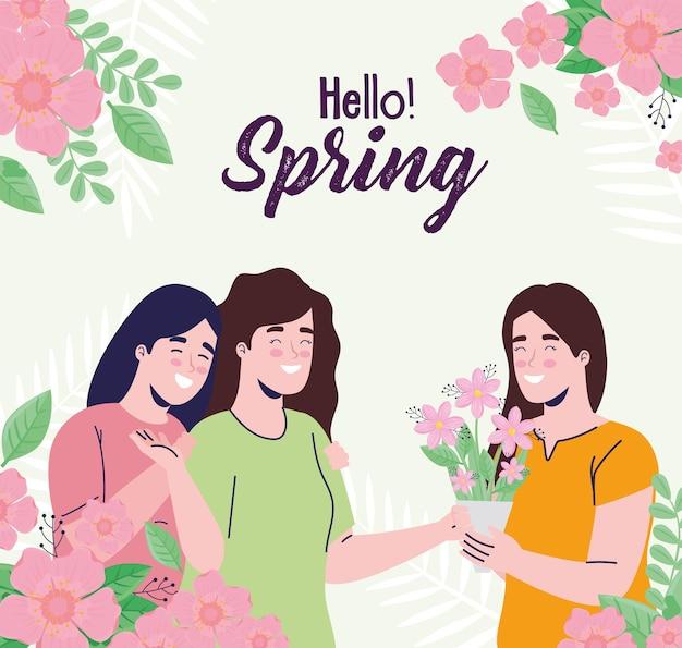 Karta z napisem sezonu wiosennego z dziewczynami i ilustracją kwiatowy ramki