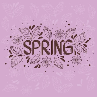 Karta z napisem sezonu wiosennego z kwiatową ramką na fioletowym tle ilustracji