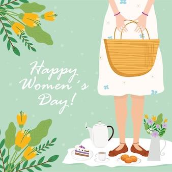 Karta z napisem szczęśliwy dzień kobiet z kobietą podnoszącą torbę z ilustracją śniadanie