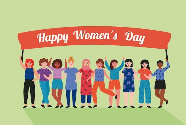 Karta z napisem szczęśliwy dzień kobiet z międzyrasowymi dziewczynami podnoszącymi ilustrację transparent