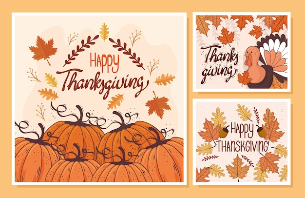 Karta z napisem szczęśliwy święto dziękczynienia z zestaw szablonów ilustracji projektu