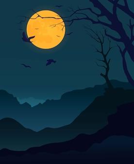 Karta z nocnym krajobrazem i księżycem.