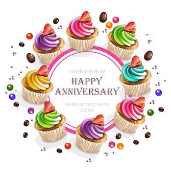 Karta z okazji rocznicy cupcakes