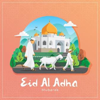 Karta z pozdrowieniami eid al adha z muzułmańskim mężczyzną i chłopcem niosącym białą kozę