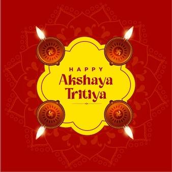 Karta z pozdrowieniami festiwalu akshaya tritiya na czerwono