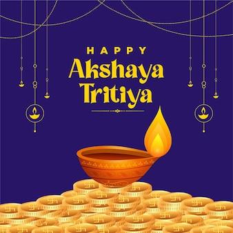 Karta z pozdrowieniami festiwalu akshaya tritiya na niebiesko
