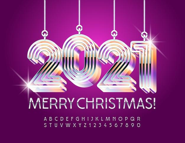 Karta z pozdrowieniami glamour wesołych świąt ze świecącymi zabawkami labirynt 2021. elegancka srebrna czcionka. zestaw metalowych liter alfabetu i cyfr