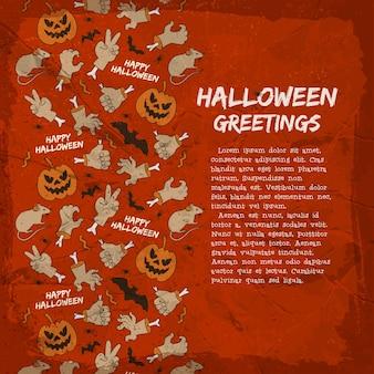Karta z pozdrowieniami halloweenowymi zwierząt lampionami dłoni jack i gestami na teksturowanym czerwonym tle
