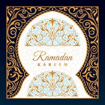 Karta z pozdrowieniami ramadan wschodni projekt meczetu z arabskim wzorem