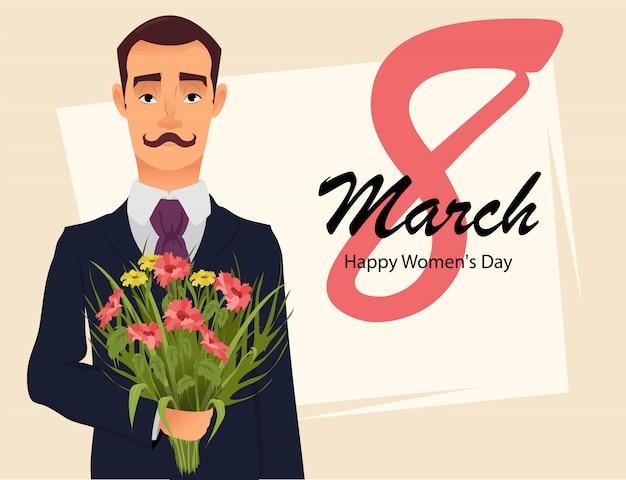 Karta z pozdrowieniami z 8 marca, przystojny dżentelmen
