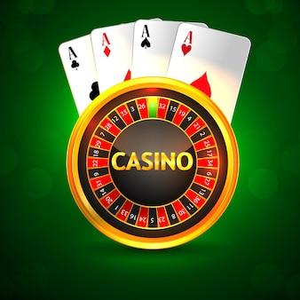 Karta z pozdrowieniami z zaproszeniem do kasyna z kreatywną kartą do gry w ruletkę i żetonami