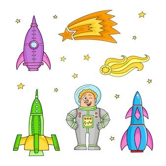 Karta z rakietami kosmicznymi, gwiazdami, kometą. ręcznie rysowane elementy w kosmosie