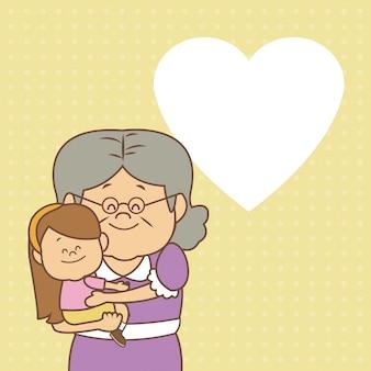 Karta z starszą kobietą niosącą dziewczynka szczęśliwy dzień dziadków
