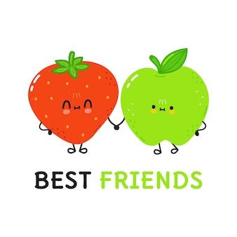 Karta z uroczą szczęśliwą truskawką i jabłkiem