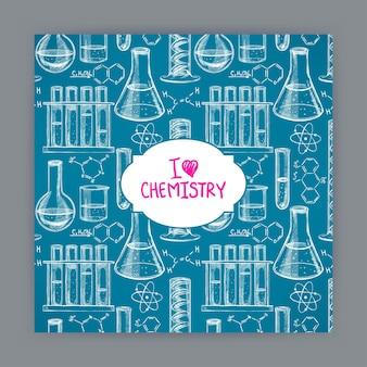 Karta z wzorami chemicznymi i kolbami. ręcznie rysowane ilustracji