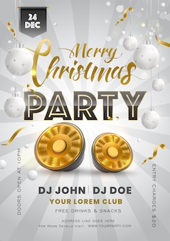 Karta z zaproszeniem lub ulotka ozdobiona wiszącymi bombkami, głośnikiem niskotonowym i szczegółami wydarzenia na wesołe przyjęcie świąteczne.