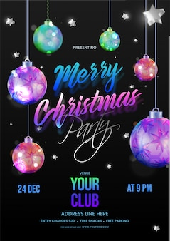 Karta z zaproszeniem merry christmas party ozdobiona wiszącymi bombkami, gwiazdkami i szczegółami wydarzenia na czarno.