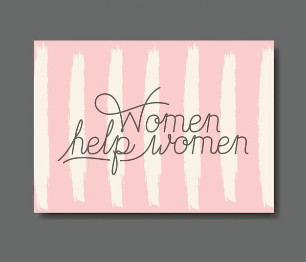 Karta z żeńskiej pomocy wiadomość ręcznie wykonane czcionki