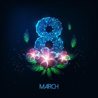 Karta z życzeniami z okazji dnia kobiet 8 marca ze świecącą niską cyfrą ósemkową, różowymi kwiatami i zielonymi liśćmi
