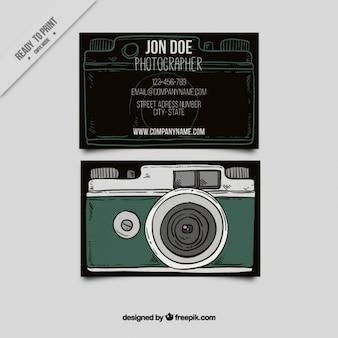 Karta zabytkowe styl z kamerą ilustrowane