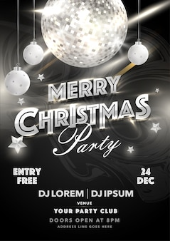 Karta zaproszenia merry christmas party z błyszczącą kulą disco, wiszącymi bombkami i szczegółami wydarzenia