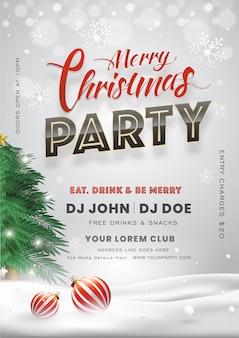 Karta zaproszenia merry christmas party z drzewkiem, bombkami i szczegółami wydarzenia