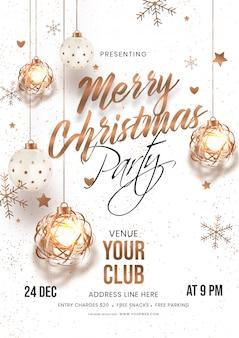 Karta zaproszenia merry christmas party z wiszącymi bombkami, gwiazdkami i płatkami śniegu, ozdobionymi na biało z detalami miejsca.