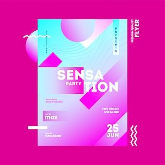 Karta zaproszenia sensation party, szablon reklamowy lub projekt ulotki z elementem abstrakcyjnym.