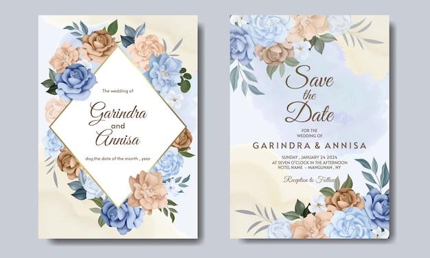 Karta zaproszenia ślubne z kolorowym niebieskim i brązowym kwiatem i liśćmi premium wektorów