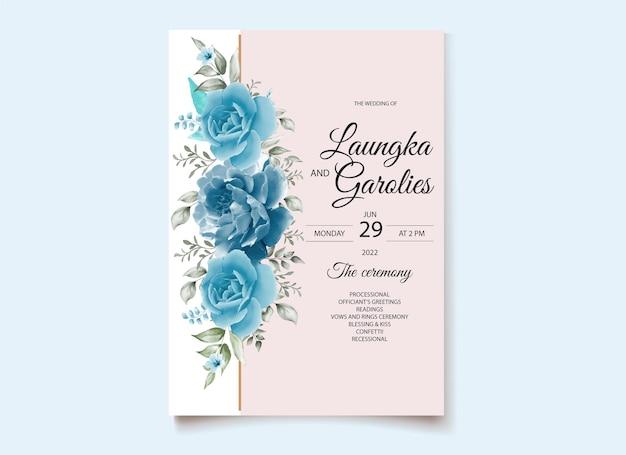 Karta zaproszenie akwarela kwiat róży darmowych wektorów