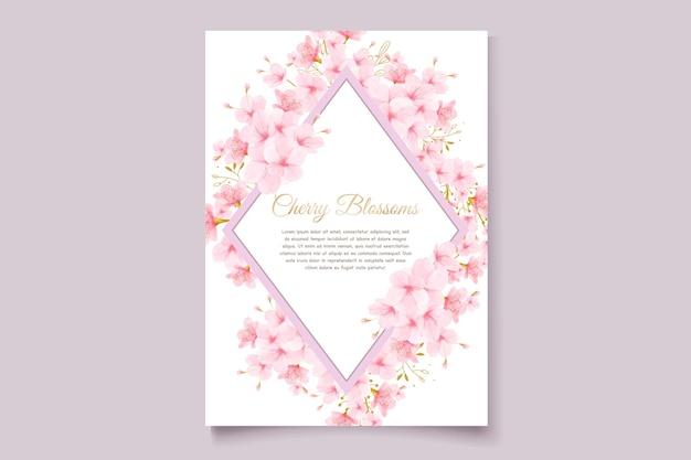 Karta zaproszenie akwarela kwiat wiśni