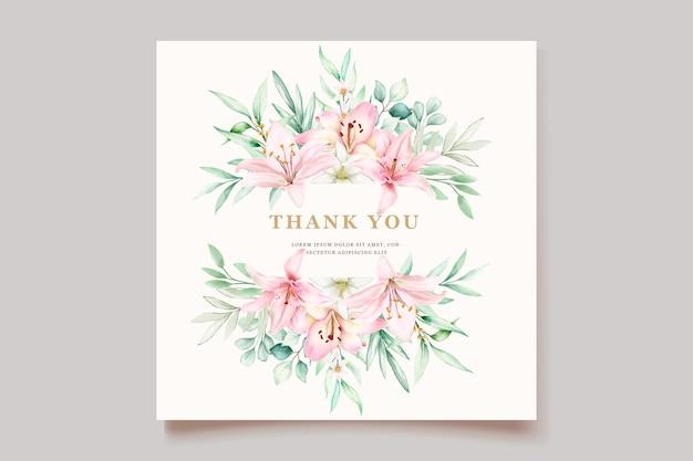 Karta zaproszenie akwarela lilia