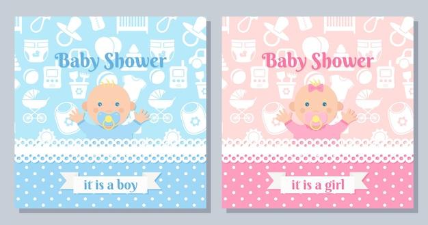 Karta zaproszenie dziecka. baby shower chłopiec, dziewczyna projekt. śliczny różowy, niebieski sztandar z noworodkiem