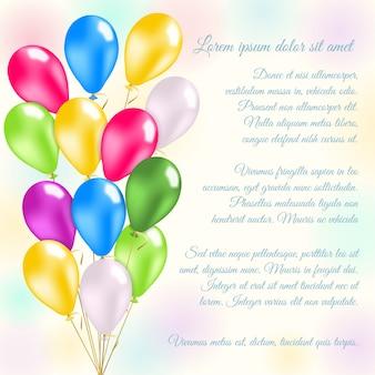 Karta zaproszenie kolorowe balony