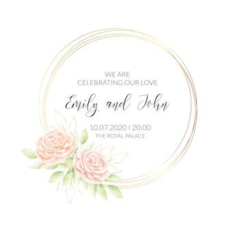 Karta zaproszenie kwiatowy akwarela ramki