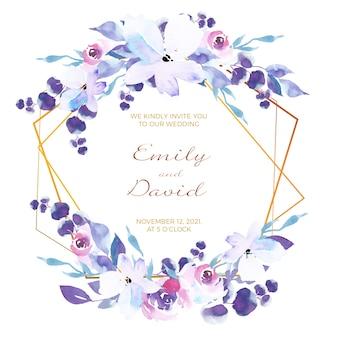 Karta zaproszenie kwiatowy ramki ślubne