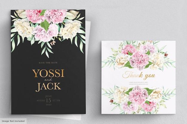 Karta zaproszenie kwiaty goździka