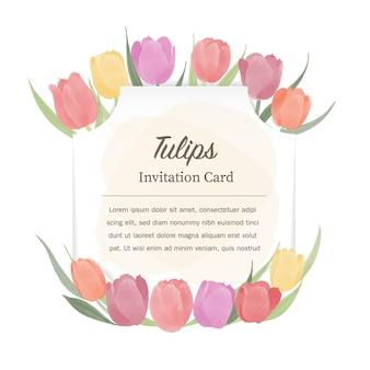 Karta zaproszenie kwiaty tulipanów