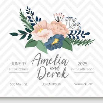 Karta zaproszenie na ślub z kwiatem
