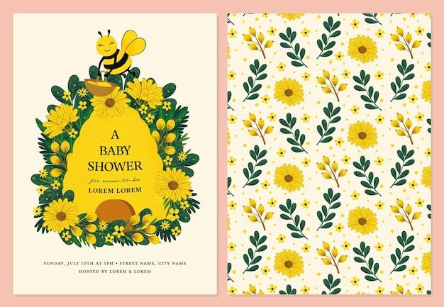 Karta zaproszenie na baby shower z pszczołą miodną i kwiatem słońca w wektorze