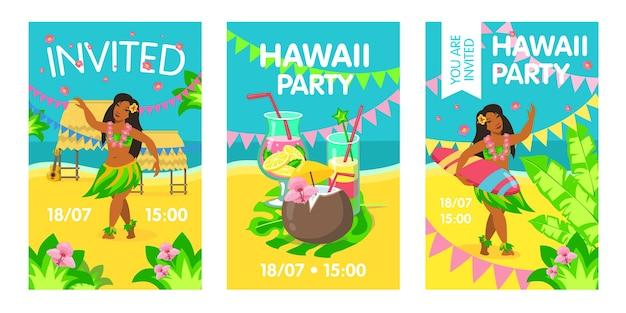 Karta zaproszenie na hawajach z kobietą na plaży. hawaje, koktajl, surfing, impreza