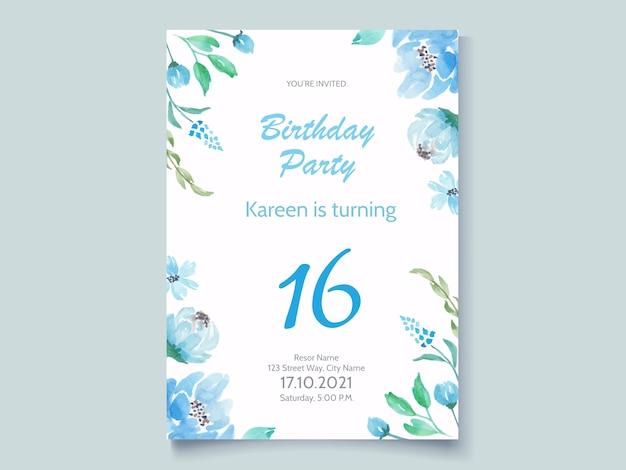 Karta zaproszenie na przyjęcie urodzinowe z niebieskim kwiatem