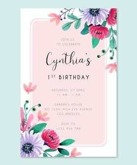 Karta zaproszenie na przyjęcie urodzinowe z różowymi i fioletowymi kwiatami akwarela