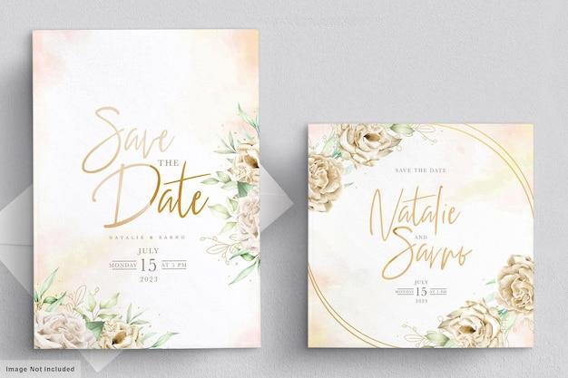 Karta zaproszenie na ślub akwarela chryzantemy