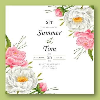 Karta zaproszenie na ślub akwarela kwiat piwonii