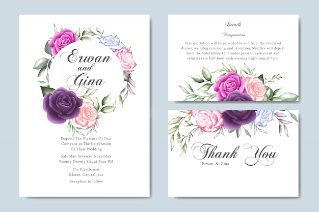 Karta zaproszenie na ślub akwarela