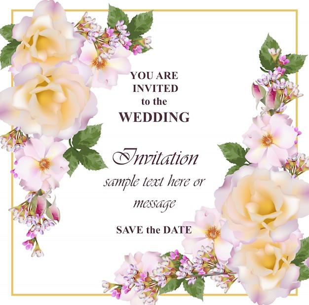 Karta zaproszenie na ślub. delikatne kwiaty róży i lawendy