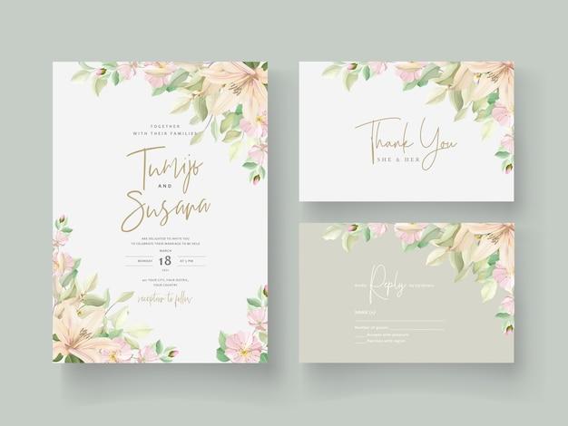 Karta zaproszenie na ślub kwiat lilii